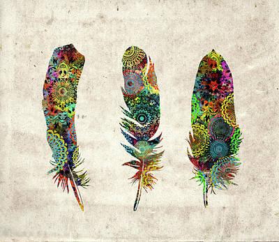 Native Art Digital Art - Native Mandala Feathers  by Bekim Art