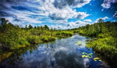 Blue Painting - Nature Landscape Lighting by Margaret J Rocha