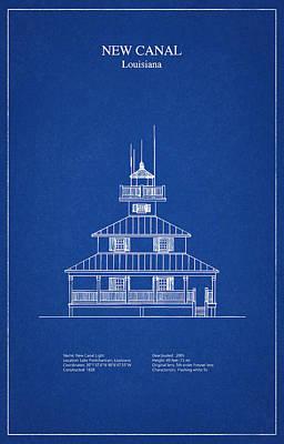 Sea Digital Art - New Canal Lighthouse - Louisiana - Blueprint Drawing by Jose Elias - Sofia Pereira