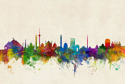 India Wall Art - Digital Art - New Delhi India Skyline by Michael Tompsett