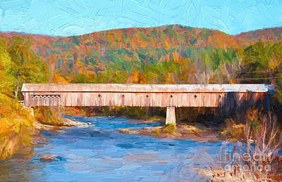 New England Covered Bridge Art Print by Garland Johnson