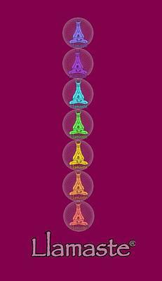 Llama Digital Art - Chakra Yoga Mat by Bill Ades