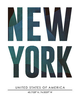 Mixed Media - New York, United States Of America - City Name Typography - Minimalist City Posters by Studio Grafiikka