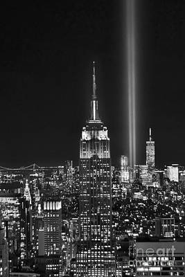 City Skyline Wall Art - Photograph - New York City Tribute In Lights Empire State Building Manhattan At Night Nyc by Jon Holiday