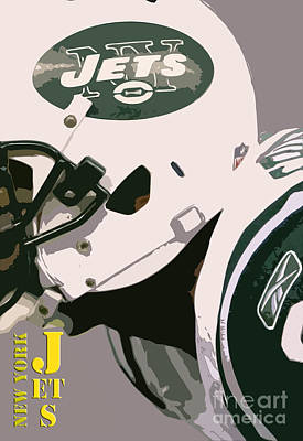 New York Jets Football Team And Original Typography Art Print by Pablo Franchi