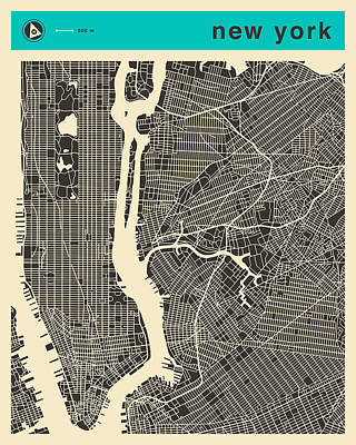 Cities Digital Art - New York Map 1 by Jazzberry Blue