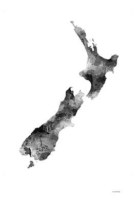 New Zealand Map Art Print