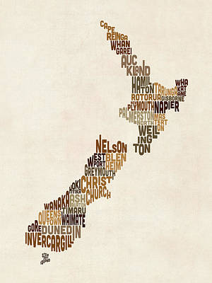 Digital Art - New Zealand Typography Text Map by Michael Tompsett