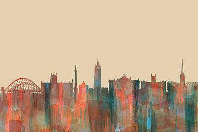 Digital Art - Newcastle England Skyline by Marlene Watson