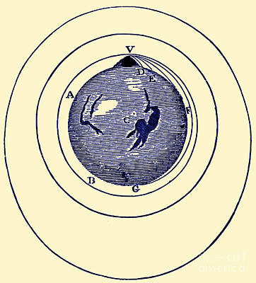 Naturalis Photograph - Newtons Projectile, Principia, 1687 by Science Source