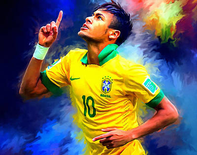 Nike Painting - Neymar Football Soccer Landscape Art Painting by Andres Ramos