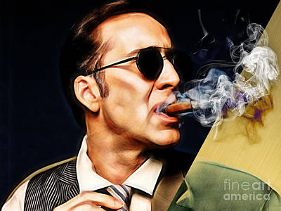 Smoking Mixed Media - Nicolas Cage Collection by Marvin Blaine