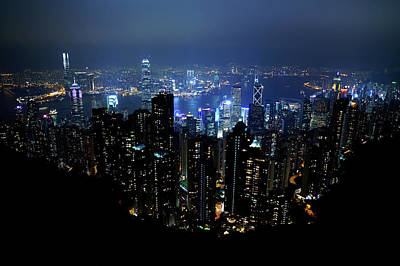 Night View From The Victoria Peak Of Hong Kong Original by Kurick Berry