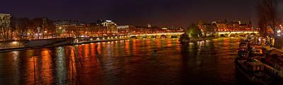 Ile De La Cite Photograph - Night View Of River Seine From Pont Des by Panoramic Images