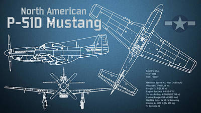 Fighter Aircraft Digital Art - North American P-51d Mustang Blueprint by Jose Elias - Sofia Pereira