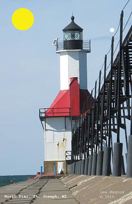 Photograph - North Pier St Joseph Michigan by Lew Hagood