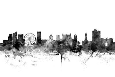 Silhouette Digital Art - Nottingham England Skyline by Michael Tompsett