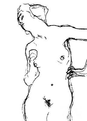 Drawing - Nude by Gustav Klimt