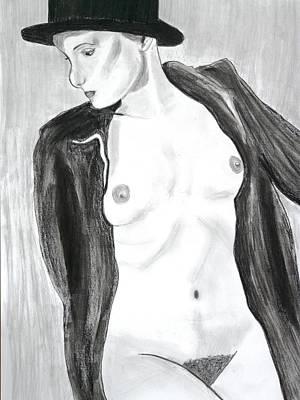 Drawing - Nude In A Fur by Cathy Jourdan