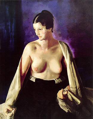 Woman With Black Hair Painting - Nude With White Shawl by George Bellows