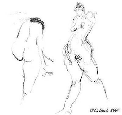 Drawing - 2 Nudes by Chuck Berk