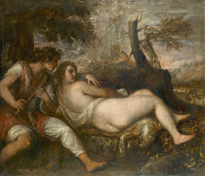 Nymph Painting - Nymph And Shepherd by Titian