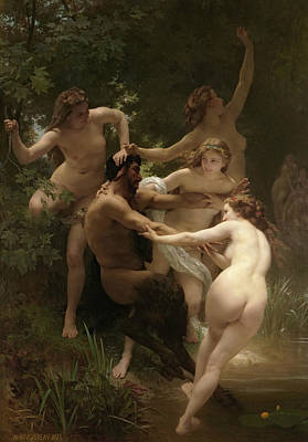 Classical Realism Painting - Nymphs And Satyr by William-Adolphe Bouguereau
