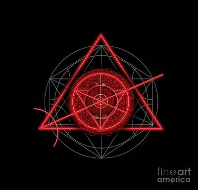 Occult Magick Symbol On Red By Pierre Blanchard Art Print by Pierre Blanchard
