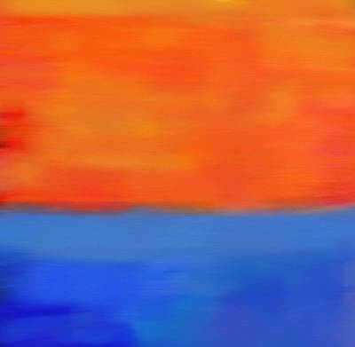 Blue And Red Painting - Ocean Sunset by Dan Sproul