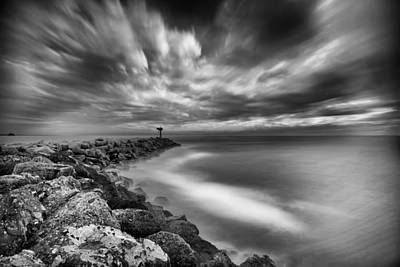 Black And White Photograph - Oceanside Harbor Jetty 3 by Larry Marshall