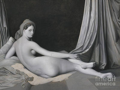Grisaille Painting - Odalisque In Grisaille by Jean Auguste Dominique Ingres