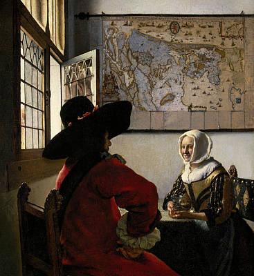Johannes Vermeer Wall Art - Painting - Officer And Laughing Girl by Johannes Vermeer