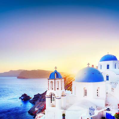 Famous Photograph - Oia Town On Santorini Greece At Sunset by Michal Bednarek