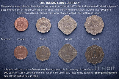 Photograph - Old Indian Coin Currency by Kiran Joshi
