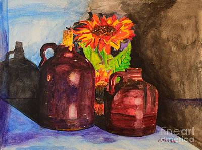 Painting - 2 Old Jugs 1.. by Melvin Turner