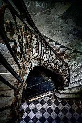 Stair Case Photograph - Old Piano In Deserted Castle - Architectual Heritage by Dirk Ercken