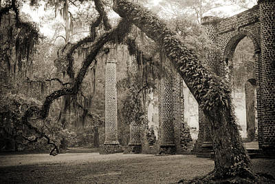 Old Sheldon Church Ruins Print by Dustin K Ryan
