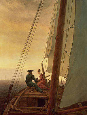 Caspar Painting - On Board A Sailing Ship by Caspar David Friedrich