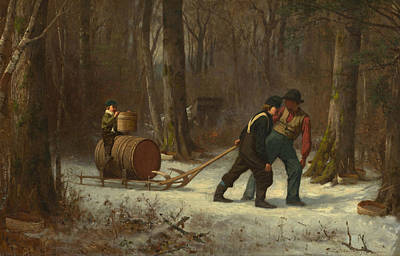 Eastman Johnson Painting - On Their Way To Camp by Eastman Johnson