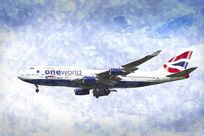Digital Art - One World Boeing 747 Art by David Pyatt
