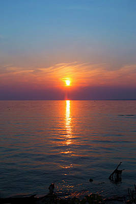 Photograph - Oneida Lake Sunset by David Stasiak