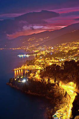 Photograph - Opatija Riviera Bay Evening Panoramic View by Brch Photography