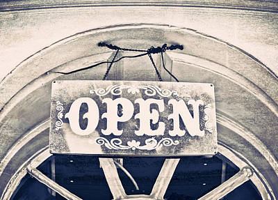 Storefront Photograph - Open Sign by Tom Gowanlock