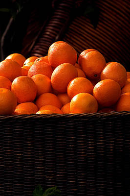 oranges in basket Rome italy Art Print by Xavier Cardell