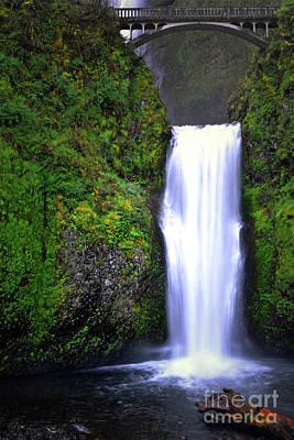 Photograph - Oregon Multnomah Falls Bridge Landscape by Andrea Hazel Ihlefeld