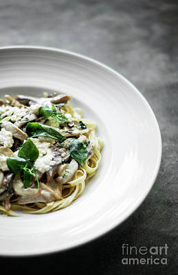 Photograph - Organic Italian Ricotta Mushroom And Fresh Mixed Herbs Tagliatel by Jacek Malipan