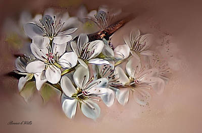 Art Print featuring the painting Oriental Pear Blossom by Bonnie Willis