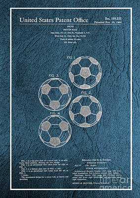Photograph - Original 1964 Vintage Soccer Ball Patent  by Doc Braham
