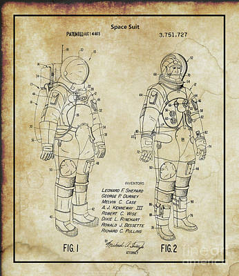 Photograph - Original 1973 Space Suit Patent by Doc Braham