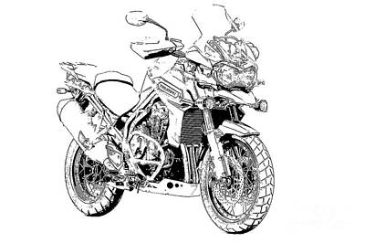 Bike Drawing - Original Motorcycle Portrait, Gift For Biker, Black And White Art by Pablo Franchi